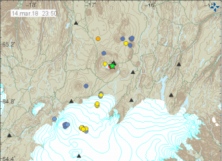 M3.8 earthquake and aftershocks swarm Askja volcano in Iceland on March 14 2018, M4.8 earthquake iceland march 15 2018