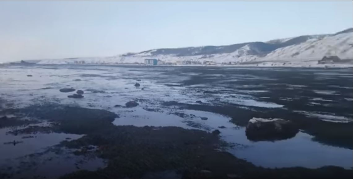 Ocean Recedes from Kholmsk, Sakhalin Island in Russia
