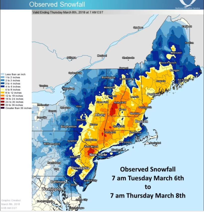 US east coast hit by 36 inches of snow and counting - 6 inches per hour in Vermont , second noreaster us east coast dumps record amounts of snow, snow noreaster us east coast march 8 2018, record snowfall winter storm east coast march 8 2018