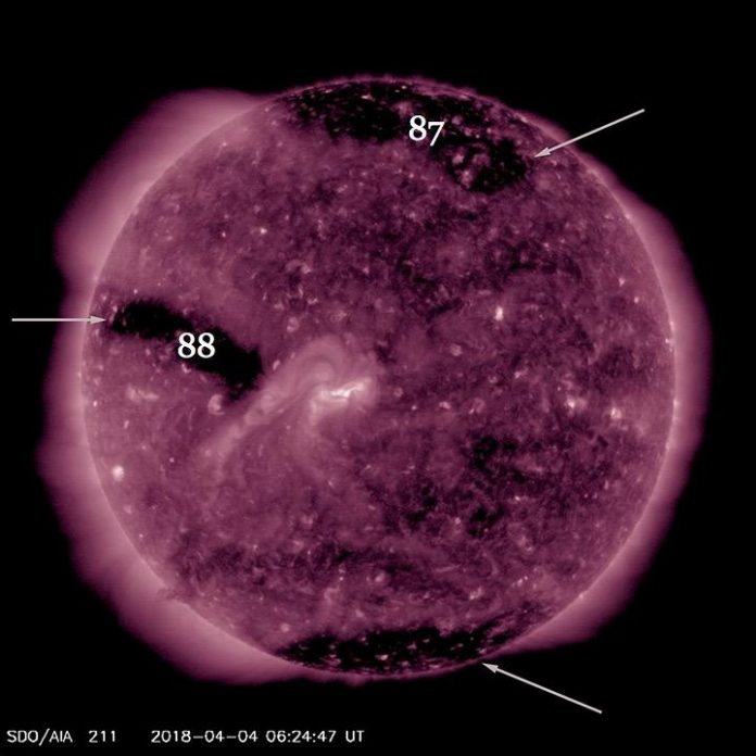solar storm, aurora, coronal hole, sun, april 2018, photo, video