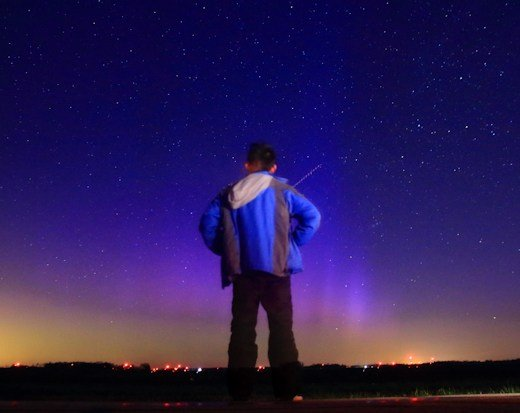 Interplanetary shock wave hits Earth's magnetic field creating red, yellow, green southern lights and blue northern lights Blue-aurora-interplanetary-shock-wave-1