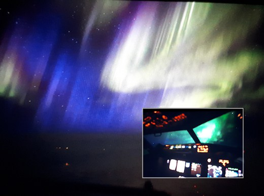 Interplanetary shock wave hits Earth's magnetic field creating red, yellow, green southern lights and blue northern lights Blue-aurora-interplanetary-shock-wave