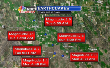 nebraska earthquake, earthquake in nebraska, 6 earthquakes nebraska, nebraska earthquakes april 2018