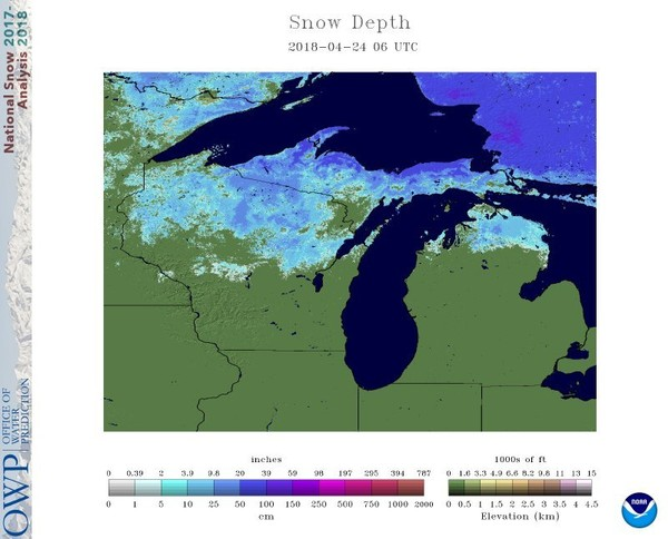 Michigan still almost 40 percent covered in snow, and it's almost May, snow anomaly usa, mini ice age, april snow michigan april 2018