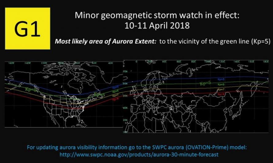 solar storm, aurora, coronal hole, sun, april 2018, photo, video