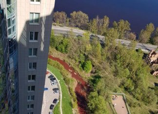 red river in St Petersburg russia, river in St Petersburg turns red may 2018, Murzinka River red st petersburg russia