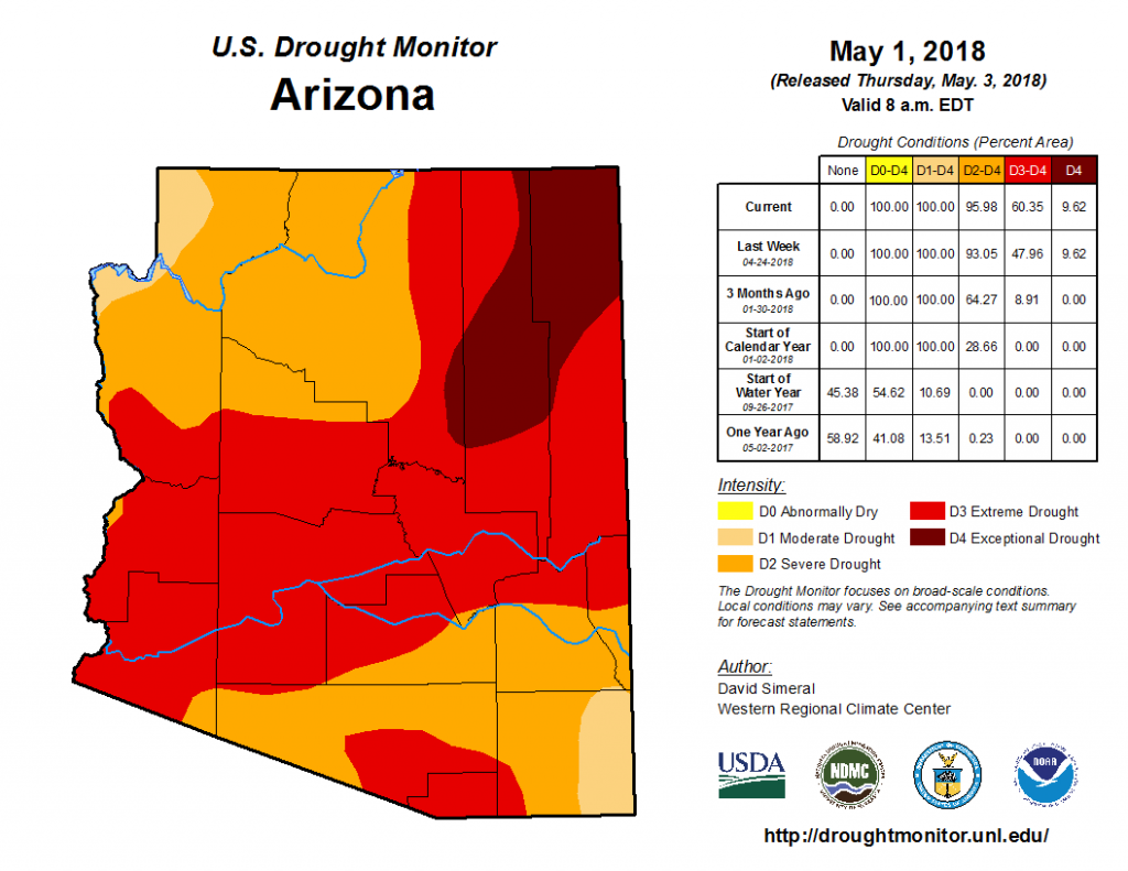 Arizona drought, Arizona drought map, Arizona drought map May 2018