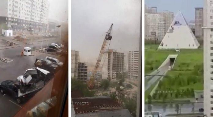 astana storm, astana storm Kazakhstan, Violent winds wreak havoc in Astana Kazakhstan on May 22 2018.