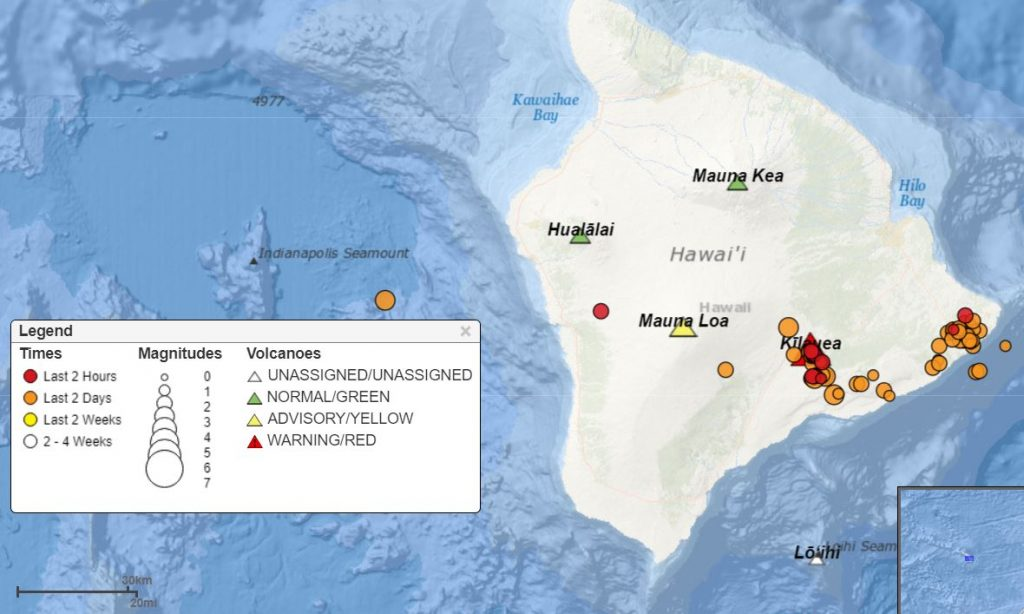 earthquakes at Kilauea volcano on May 17 2018, earthquakes at Kilauea volcano on May 17 2018 map