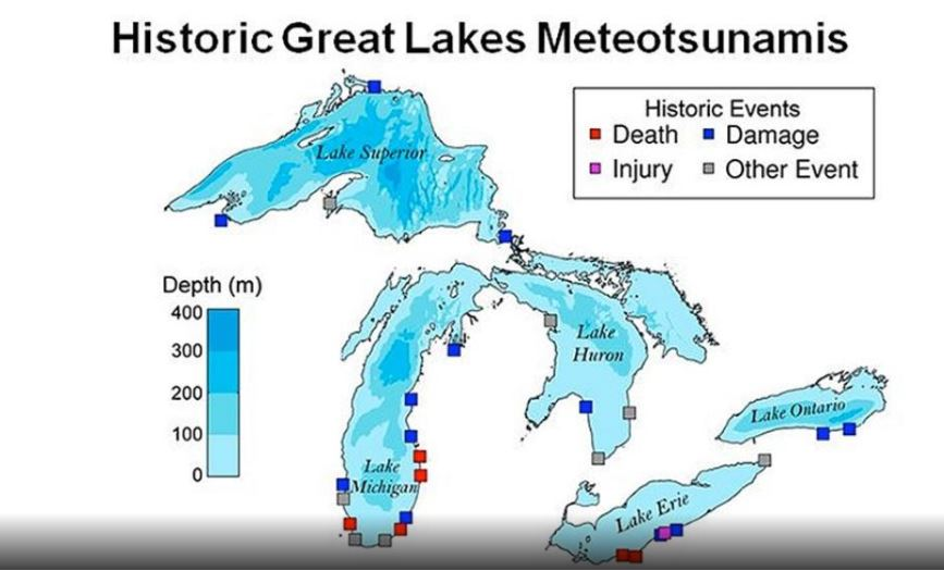 meteotsunamis great lakes april 2018, meteotsunami lake michigan 2018