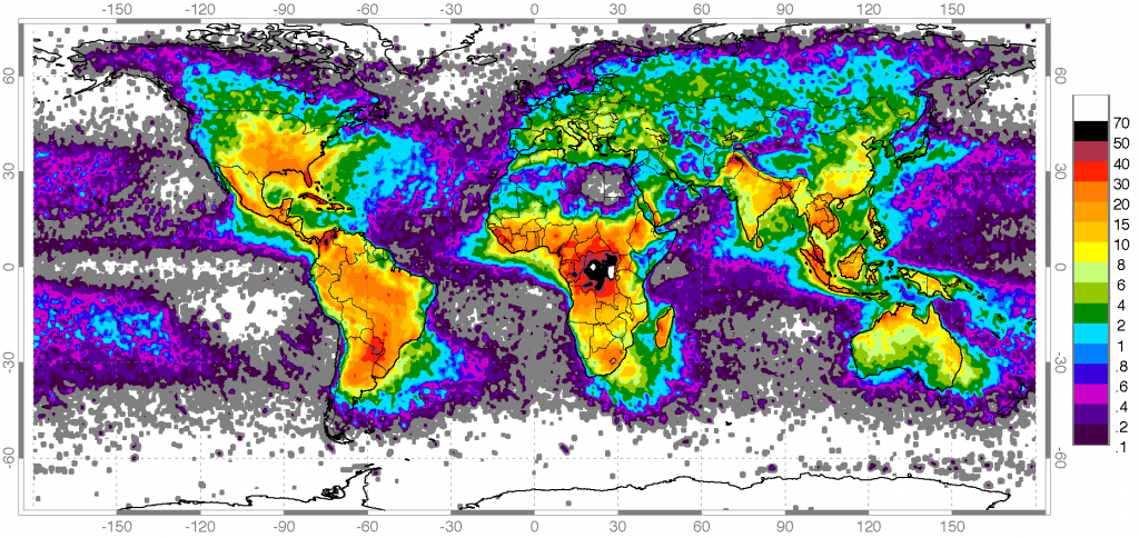 Map showing worldwide lightning strikes, lightning map