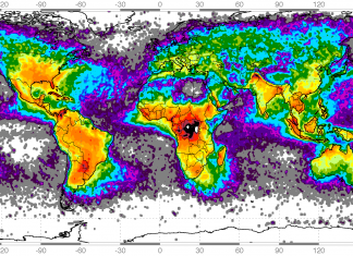 Map showing worldwide lightning strikes, lightning map