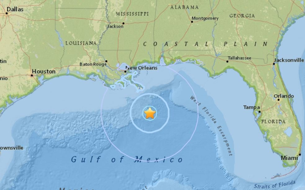 rare M4.6 earthquake gulf of mexico, rare M4.6 earthquake gulf of mexico louisiana, Seismic activity in the Gulf of Mexico, earthquake gulf of mexico