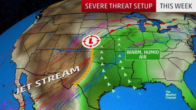 severe weather central us may 2018, The overall jet stream and surface ingredients for what could be widespread severe weather over multiple days in the Plains and Midwest this week., widespread severe thunderstorms in the central U.S., hail kansas nebraska may 2018, Hail, damaging winds and tornadoes kansas iowa nebrask, severe weather nebraska and Kansas may 2018