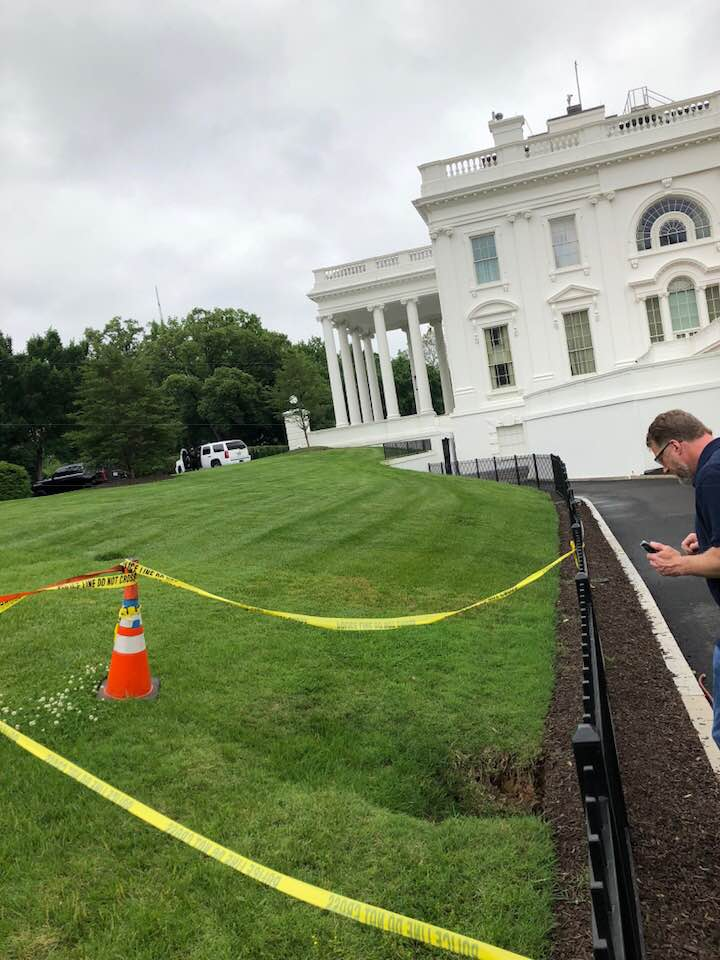 sinkhole White House, sinkhole White House Lawn, sinkhole White House Lawn pictures, sinkhole White House Lawn may 2018, sinkhole White House Lawn 2018