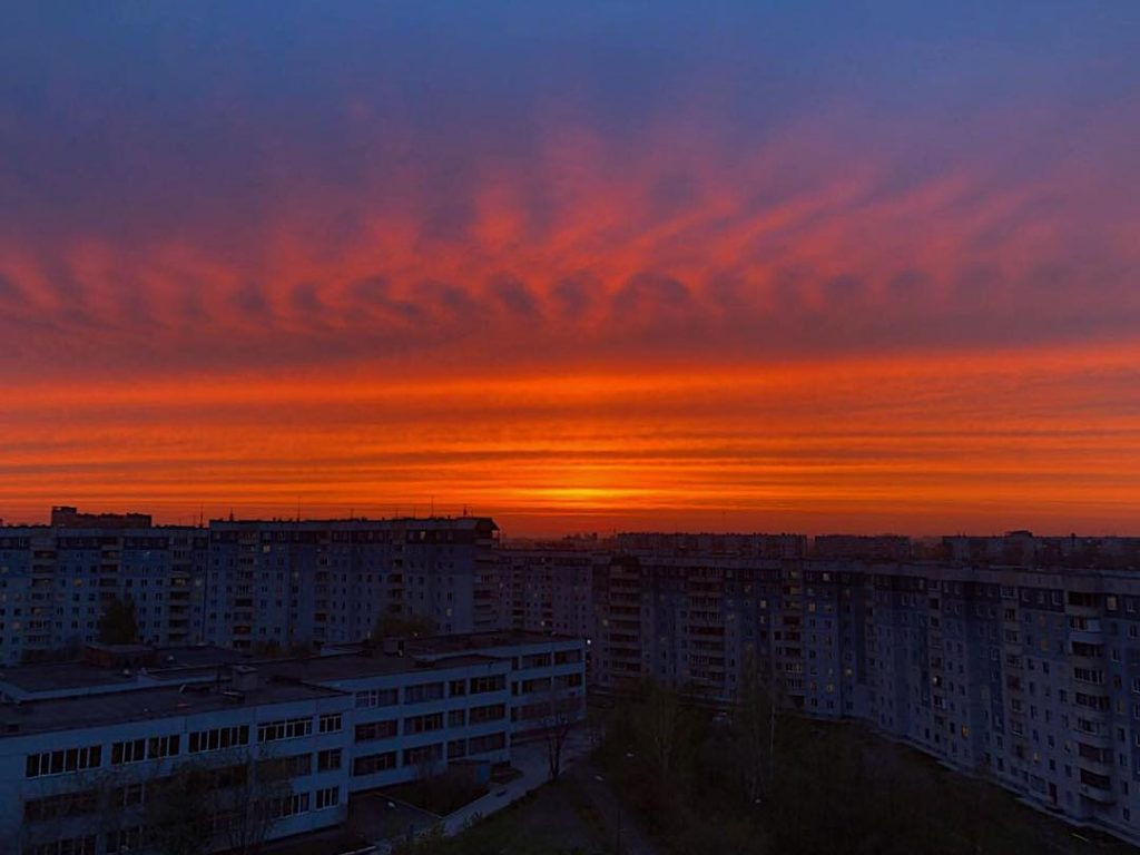 strange sunset russia, strange sunset cloud russia, strange sunset russia may 2018