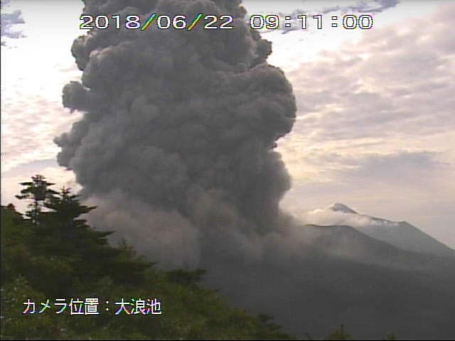 Shinmoedake eruption on June 22 2018, Shinmoedake eruption on June 22 2018 video, Shinmoedake eruption on June 22 2018 pictures