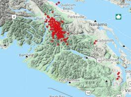 earthquake swarm vancouver island, earthquake swarm vancouver island june 2018, earthquake swarm vancouver island june 20 2018