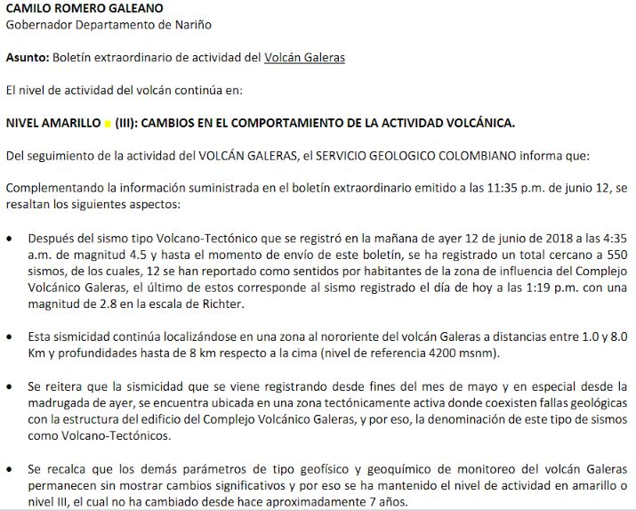 galeras volcano earthquake swarm colombia june 2018, galeras volcano, galeras volcano colombia, earthquake swarm galeras volcano colombia, galeras volcano waking up colombia june 2018