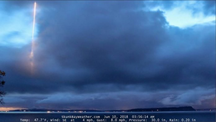 mysterious object Whibey Island washington state june 2018, Missile or space rock? Mystery object spotted over Washington state island, military denies missile launch, mysterious object washington state island,