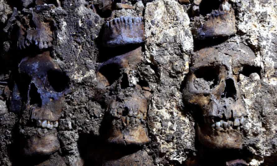 tower human skulls aztec mexico city