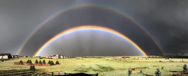 twinned rainbow, rare twinned rainbow, twinned and double rainbow