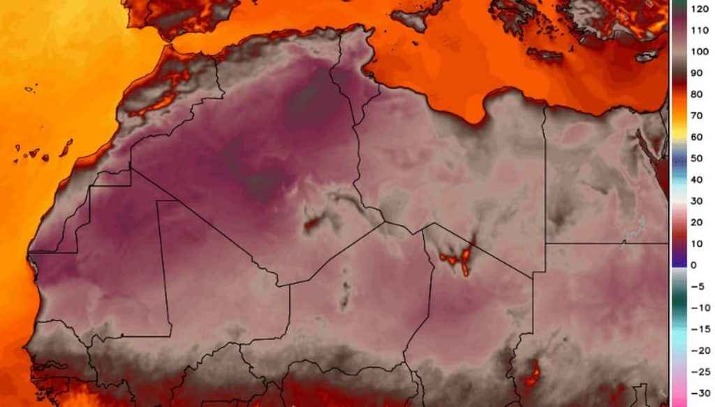Africa hottest temperature 124 degrees Algeria july 2018, africa temperature record july 2018, hottest temperature in Africa measured in Algeria