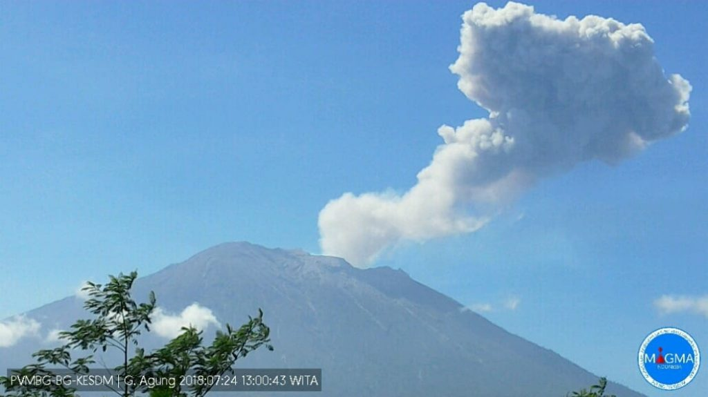 Agung volcanic eruptions on July 24, Agung volcanic eruptions on July 24 video, Agung volcanic eruptions on July 24 pictures