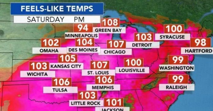heatwave usa july 2018, heatwave usa july 2018 map, A blistering heat wave will sweep the U.S. Midwest and East on Saturday and Sunday, when temperatures and humidity levels are expected to reach well above normal