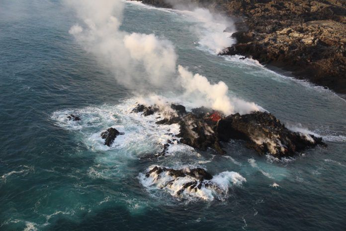 new island lava ocean entry hawaii july 2018, new lava island kopoho, new lava island hawaii