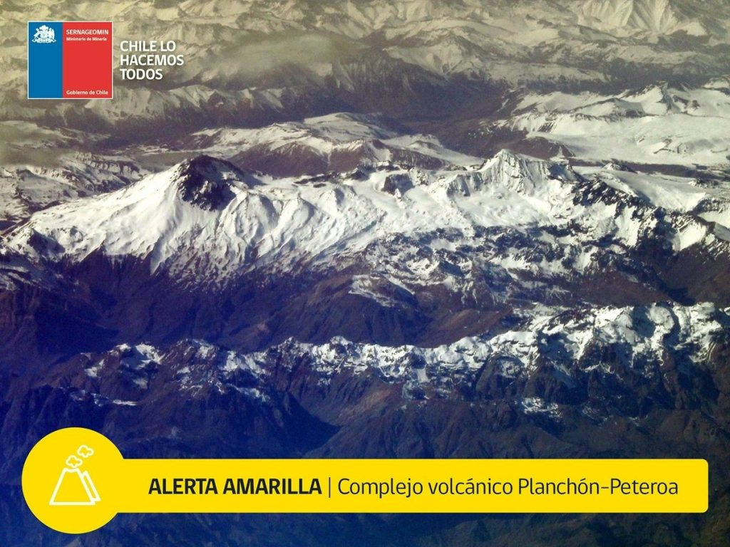 planchon amarilla july 2018, Planchón-Peteroa volcano alert now yellow