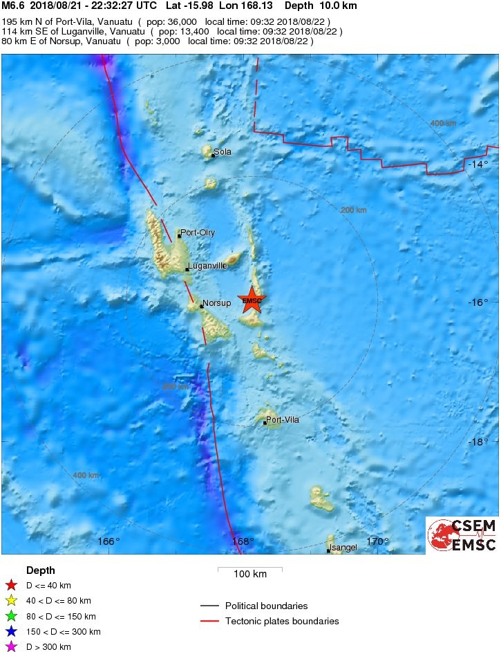 M6.6 earthquake strikes Vanuatu on August 21 2018, M6.6 earthquake strikes Vanuatu on August 21 2018 map. strong M6.6 earthquake strikes Vanuatu on August 21 2018