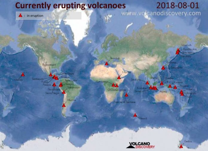 Map of the currently erupting volcanoes around the world, Map of the currently erupting volcanoes around the world august 2018, Map of the currently erupting volcanoes around the world aug 1 2018