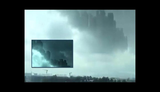 fata morgana china august 2018, mirage fata morgana china august 2018, mysterious city appears in sky of china august 2018. kingdom of heaven china mirage august 2018