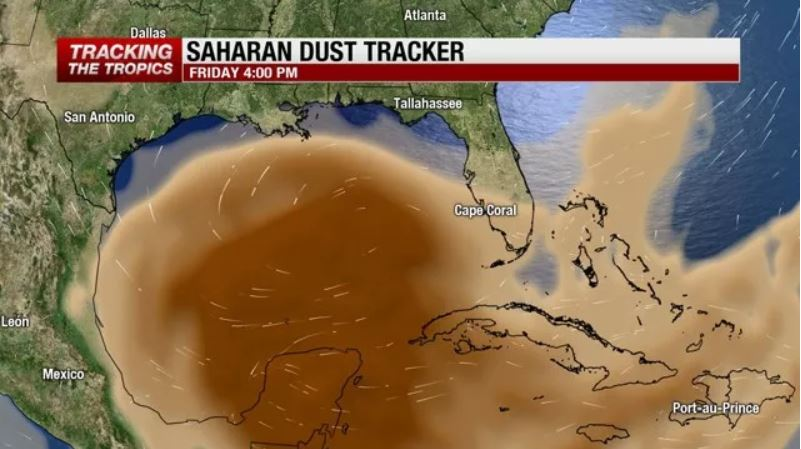 Saharan dust arrives in Southwest Florida, florida sahara dust, florida sahara sand, florida sahara dust august 2018