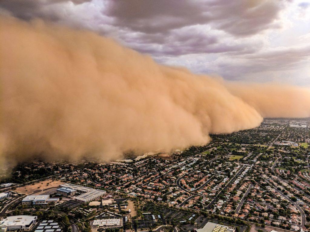 phoenix area dust storm, monsoon dust storm phoenix area, giant wall of sand phoenix area monsoon august 2018, huge wall of dust phoenix area