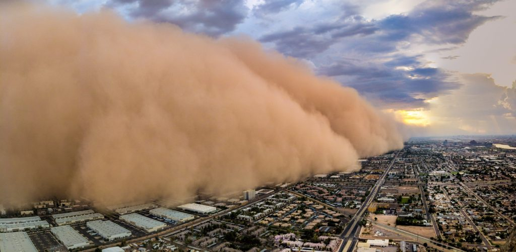 phoenix area dust storm, monsoon dust storm phoenix area, giant wall of sand phoenix area monsoon august 2018, huge wall of dust phoenix area