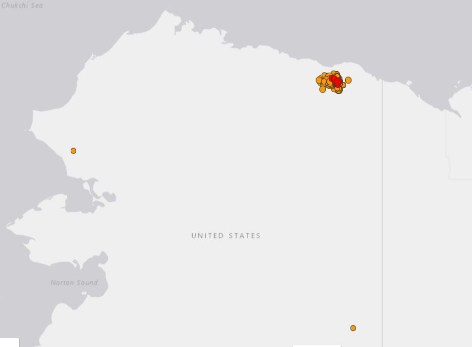 Unprecedented earthquake swarm currently hitting Alaska North Slope since August 12 2018, M6.4 earthquake alaska north slope, M6.4 earthquake hits Alaska North Slope on August 12 2018, M6.4 earthquake hits Alaska North Slope on August 12 2018 map