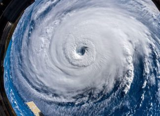 hurricane florence from space, florence generates 83ft waves, giant waves hurricane florence