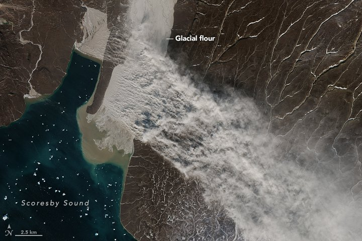 Rare Glacier flour engulfs Greenland skies, dust storm greenland, dust storm greenland nasa, dust storm greenland pictures