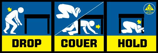 earthquake emergency: drop cover hold