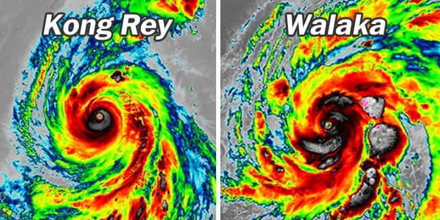 Weather oddity: First time on record that two Cat 5 storms exist simultaneously in the NE Pacific and NW Pacific Kong-rey-walaka-simultaneous