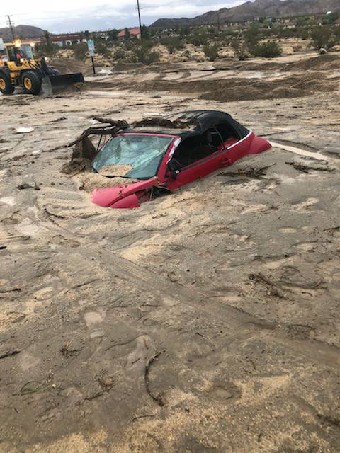 mudflow joshua tree, mudflow buries cars joshua tree, STORM CAUSES FLASH FLOODING, CLOSES HIGHWAY 62 IN JOSHUA TREE OVERNIGHT