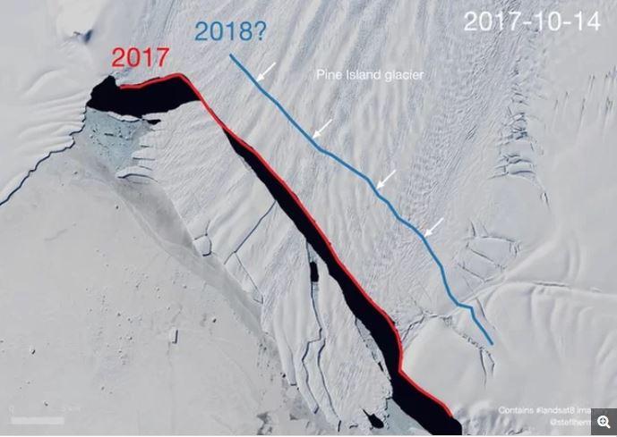 new giant iceberg calving pine island bay antarctica, new giant iceberg antarctica