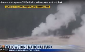 rare geyser eruption near old faithful yellowstone, Rare eruption of Ear Spring on Geyser Hill, just across the Firehole River and within sight of Old Faithful., Rare eruption of Ear Spring on Geyser Hill, just across the Firehole River and within sight of Old Faithful. video