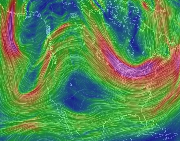 Wondering why North America is warm in the west and cold in the east right now? Have a look at this loop in the jet stream, bringing warm air from the south into California and cold air from the north down the east coast, Thanksgiving warm in west usa and cold in east usa