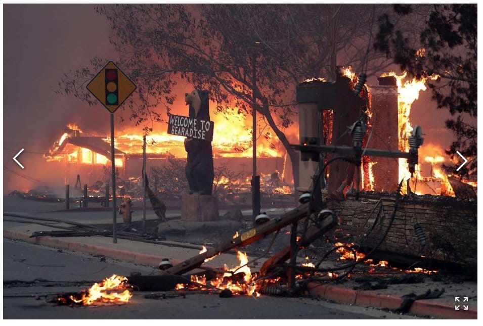 wildfire paradise devastation, paradise california campfire, campfire video, campfire pictures