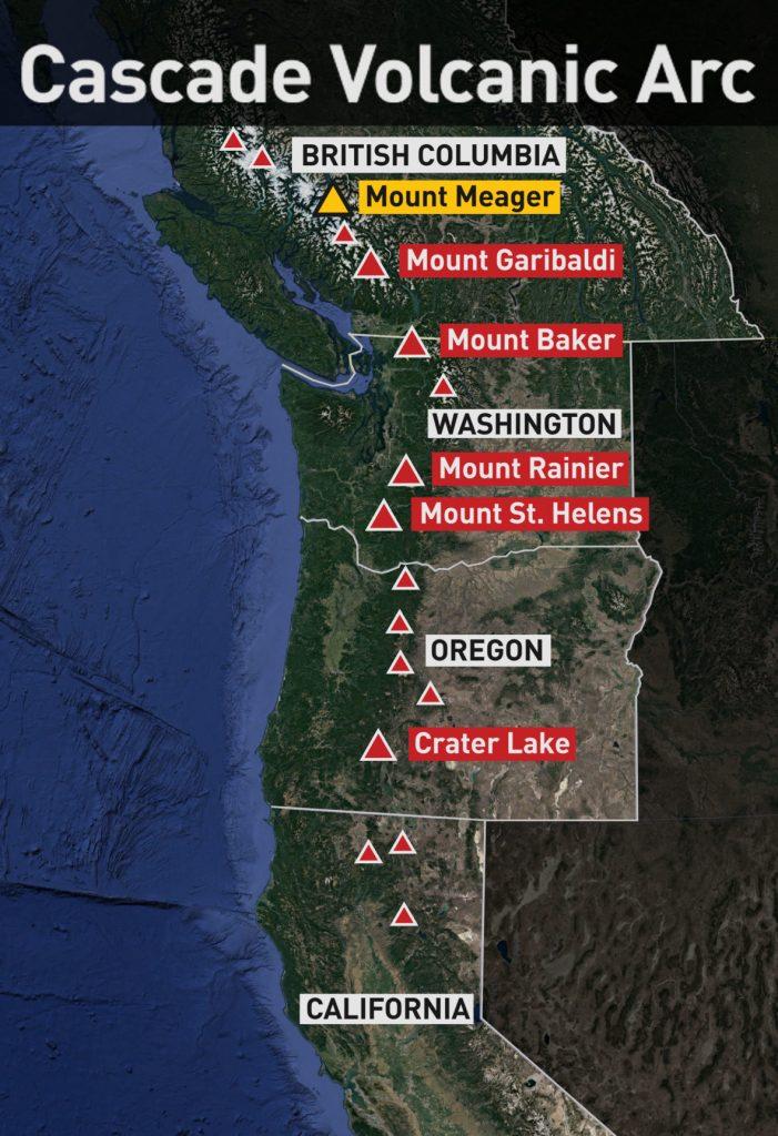 cascade volcanoes mount meager eruption risk, Mount meager in BC is part of the Cascade volcanoes