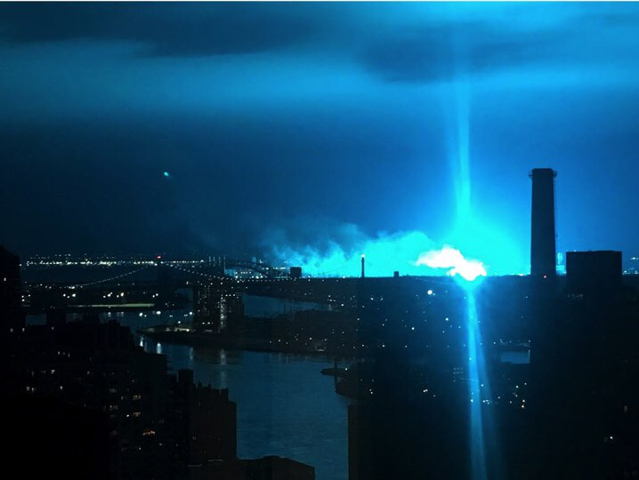 'No evidence of extraterrestrial activity' as massive blue glow reigns over NYC skyline, police say