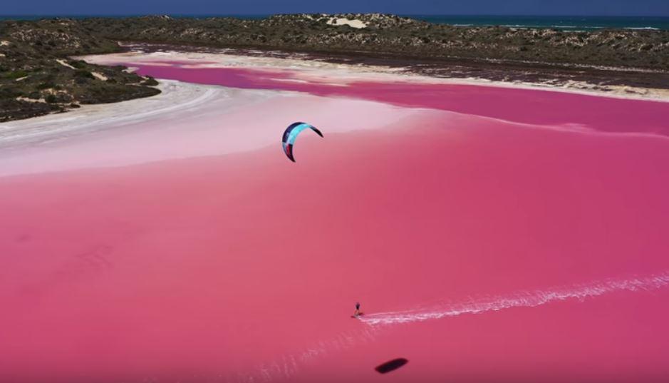 Skitesurfing on a pink lagoon in Australia, video Skitesurfing on a pink lagoon in Australia, pink lagoon skitesurfing australia